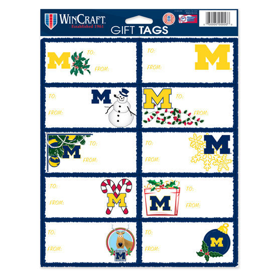 WinCraft University of Michigan Holiday Gift Tag Sticker Sheet