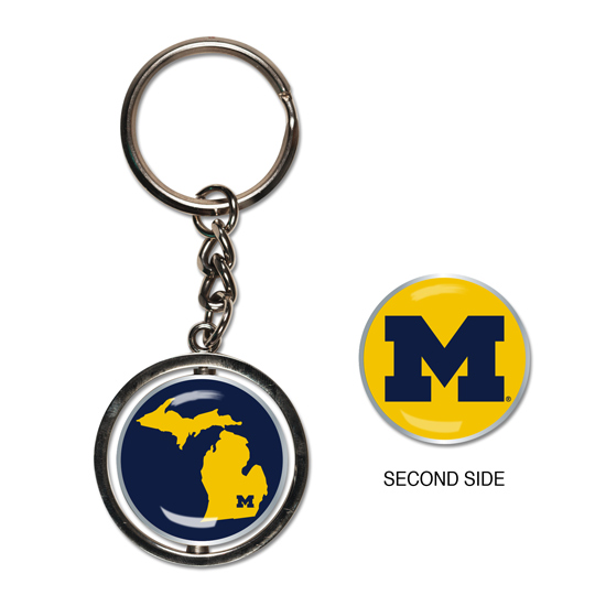 WinCraft University of Michigan/ State of Michigan Spinner Keychain