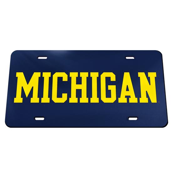 WinCraft University of Michigan Navy with Yellow ''Michigan'' Mirrored License Plate