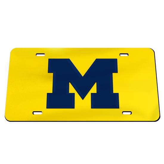 WinCraft University of Michigan Yellow with Navy Block ''M'' Mirrored License Plate