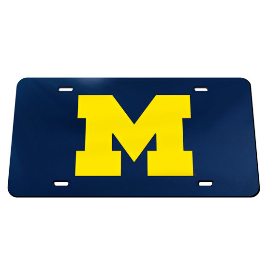 WinCraft University of Michigan Navy with Yellow Block ''M'' Mirrored License Plate