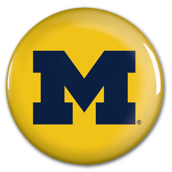 WinCraft University of Michigan Yellow with Navy Block ''M'' Logo Button