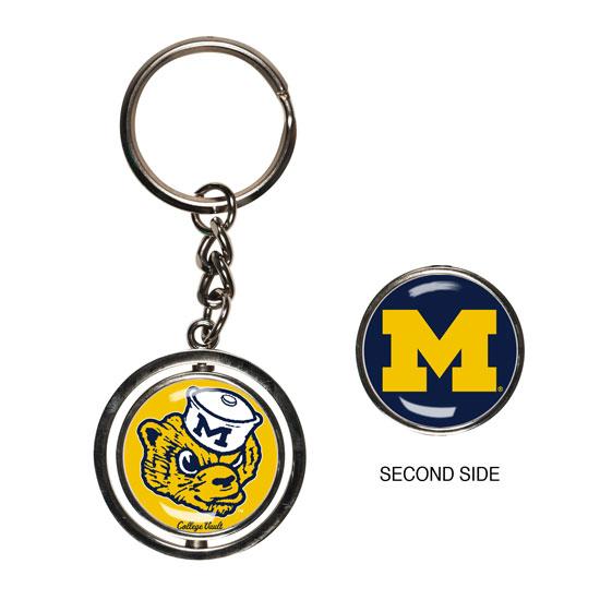 WinCraft University of Michigan College Vault Wolverine Spinner Keychain