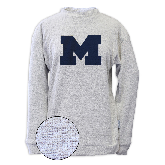 Woolly Threads University of Michigan Women's Off White Reverse Loop Crewneck Sweatshirt
