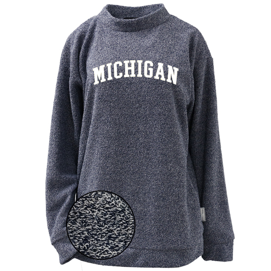 Woolly Threads University of Michigan Women's Heather Navy Reverse Loop Crewneck Sweatshirt