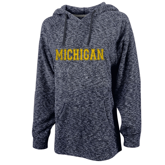 Woolly Threads University of Michigan Women's Heather Navy Reverse Loop Slub Hooded Sweatshirt