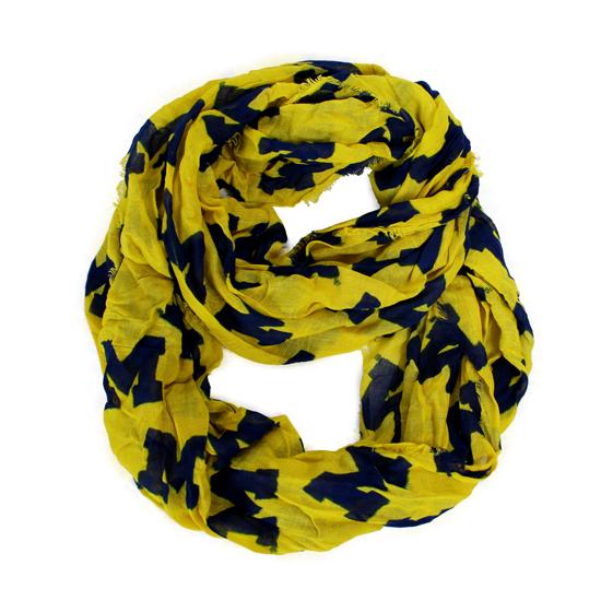 ZooZatz University of Michigan Yellow All-Over Block ''M'' Logo Infinity Scarf