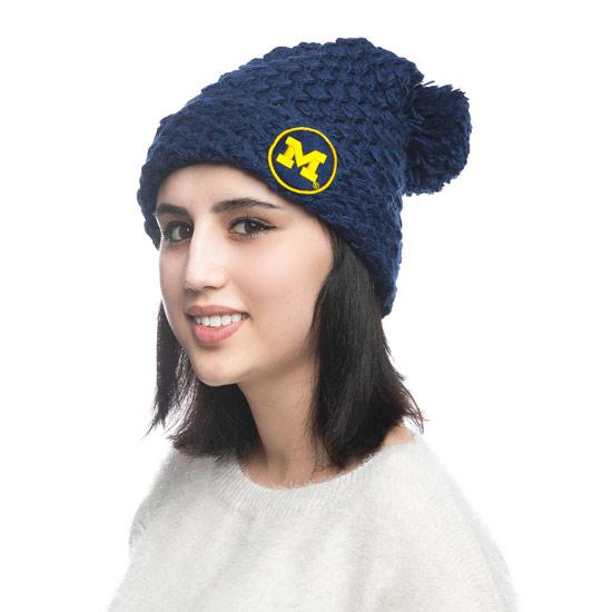 ZooZatz University of Michigan Women's Navy Chunky Cuffed Knit Hat with Pom
