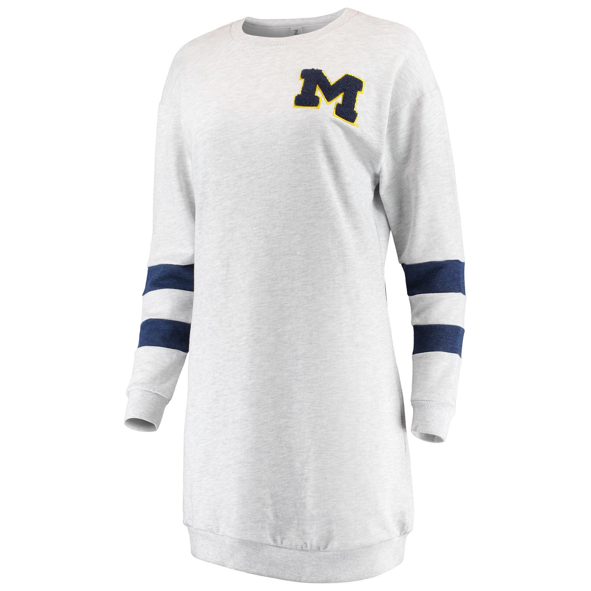 Zoozatz University of Michigan Women's Gray Varsity Sweatshirt Dress