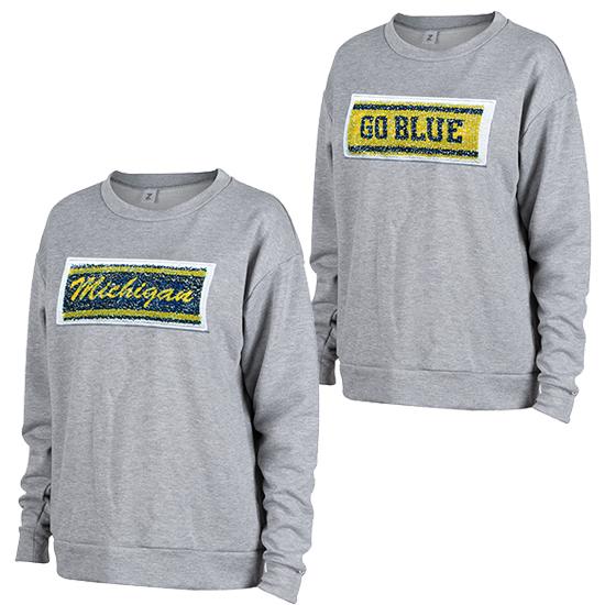 ZooZatz University of Michigan Women's Gray Inverse Sequin Logo Crewneck Sweatshirt