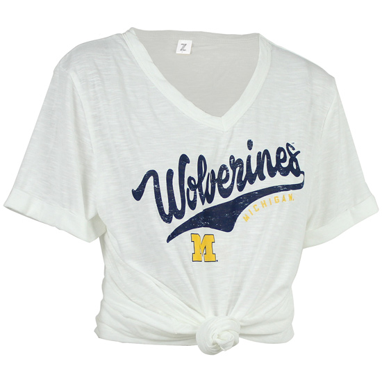 ZooZatz University of Michigan Women's White Juke Knotted Tee