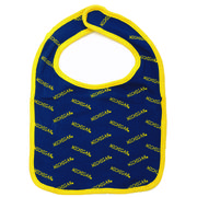 Third Street University of Michigan Navy /Yellow Trim Baby Bib