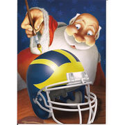 Christmas Spirit University of Michigan 12 Pack Christmas Cards- Santa Painting