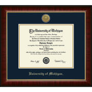 University of Michigan Diploma Frame: Church Hill Classics Engraved Medallion Murano [Bach/Masters]