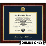 University of Michigan Diploma Frame: Church Hill Classics Engraved Medallion Murano [PhD]