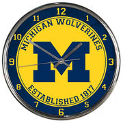 WinCraft University of Michigan Chrome Wall Clock