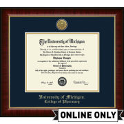 University of Michigan Diploma Frame: Church Hill Classics Engraved Medallion Murano [College of Pharmacy]