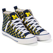 Skicks University of Michigan WOMEN'S Navy with Yellow M's High-Top Sneakers