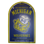Michigan Wolverines College Vault Wolverine 11x17 Wood Sign
