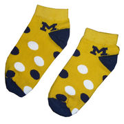FBF University of Michigan Kids Yellow Polka Dot Socks