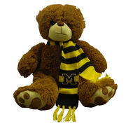 Mascot Factory University of Michigan Cocoa Teddy Bear with Scarf