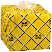 U Wrap University of Michigan Yellow Plaid Wrapping Paper Roll