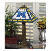 Memory Company University of Michigan Mission Style Stained Glass Lamp