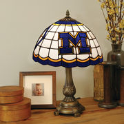 Memory Company University of Michigan Round Stained Glass Lamp