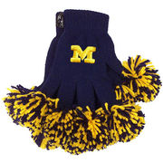 Merge Left University of Michigan Ladies Spirit Fingers Pom Pom Knit Gloves
