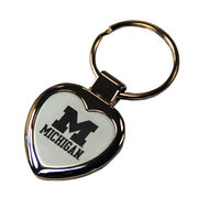 LXG University of Michigan Laser Engraved Heart Shaped Key Chain