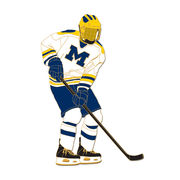 WinCraft University of Michigan Hockey Player in White Jersey Lapel Pin