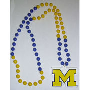 Rico University of Michigan Block M Medallion Sports Bead Necklace
