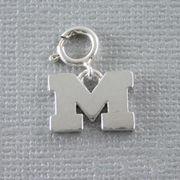 Dayna U University of Michigan Sterling Silver Block M Clasp Charm