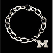 CNote University of Michigan Stainless Steel CZ Block M Bracelet