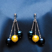 Honora Cultured Pearls University of Michigan Navy and Yellow Pearl Earrings