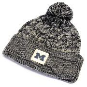 Ahead University of Michigan Women's Navy/ Ivory Cuffed Knit Hat with Pom