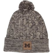 Ahead University of Michigan Women's Gray/ Ivory Cuffed Knit Hat with Pom