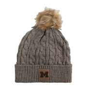 Ahead University of Michigan Women's Heather Tan Cuffed Knit Hat with Pom