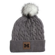 Ahead University of Michigan Women's Slate Gray Cuffed Knit Hat with Pom