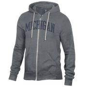 Alternative Apparel University of Michigan Gray Full Zip ''Rocky'' Hooded Sweatshirt