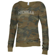 Alternative Apparel University of Michigan Women's Camouflage Maniac Off-The-Shoulder Sweatshirt