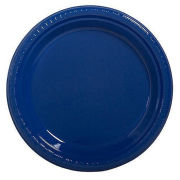 Amscan University of Michigan Plain Navy 20ct 10'' Plastic Party Plate