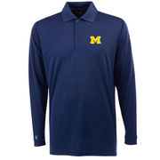 Antigua University of Michigan Navy Long Sleeve Desert Dry Polo Shirt