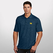 Antigua University of Michigan Navy Multi Stripe Finish Polo Shirt