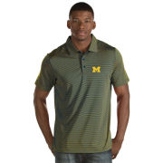 Antigua University of Michigan Navy/Yellow Striped ''Quest'' Polo Shirt
