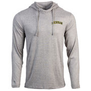 Antigua University of Michigan Heather Gray ''Launch'' Pullover Hooded Tee