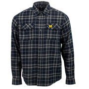 Antigua University of Michigan Navy/Gray ''Stance'' Long Sleeve Plaid Button Down Shirt