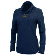 Antigua University of Michigan Women's Navy ''Equalizer'' Long Sleeve Cowl Neck Top