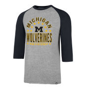 '47 Brand University of Michigan Gray/Navy Lockdown Raglan Tee
