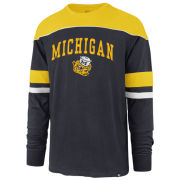 '47 Brand University of Michigan Navy/Yellow ''Win Streak'' College Vault Wolverine Long Sleeve Tee